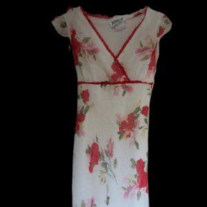 Jessie White Red Floral Dress Girl Size 12